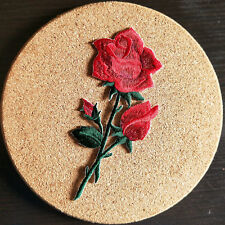 "4x2"" Red Rose Flower Iron On Embroidered Applique Patch"