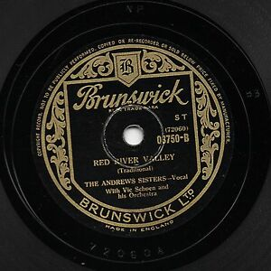 ANDREWS SISTERS 78 RED RIVER VALLEY / PATIENCE & FORTITUDE BRUNSWICK 03750 EX