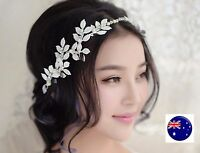 Women White Leaf Pearl Wedding Bride Party Hair Headband Head Crown Tiara Prop