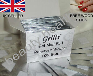 100 High Quality Nail Foil Wraps for Removal of Soak Off UV/LED Gel Nail Polish