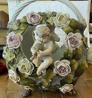 "ANTIQUE Dresden Porcelain Decorative Basket; Putti, Flowers. 1890s 10"" Signed"