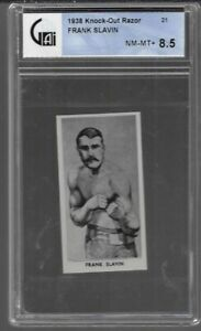 1938 KNOCK OUT RAZOR # 21 FRANK SLAVIN NM-MT+ 8.5 FAMOUS PRIZE FIGHTERS