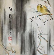 Brocade Zen Silkprint Chinese Painting Watercolor: Yellow Birds -