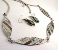 Vintage Mexican Silver Alpaca Abalone Necklace Earrings SET