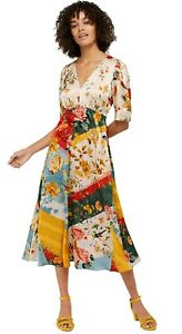 Monsoon Ladies Oana Ivory Abstract Floral Satin Era Look Midi Tea Dress RRP £99