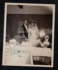 Vintage Antique Photograph Wedding Bride & Groom Cutting the Wedding Cake