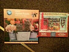 2 X 500 PIECE JIGSAW PUZZLES BUNDLE JOB LOT COMPLETE CHRISTMAS TEAROOM & KITTENS