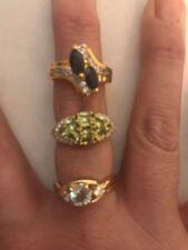 Lot of 3 Gemstone and Rhinestone Fashion Rings Costume Jewelry