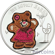 Palau 2012 Lovely Teddy Bear with Swiss Embroidery $5 Silver Proof Coin Perfect