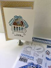 Art Impressions Tryfolds Clear Rubber Stamp w/Dies-Welcome Little One-4852 - NEW