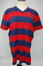 Abercrombie & Fitch Men's Red and Blue Striped T-Shirt Size Small C13