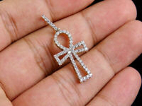 1.00 Ct Round Diamond 10k Yellow Gold Finish Bordered Ankh Cross Charm Pendant