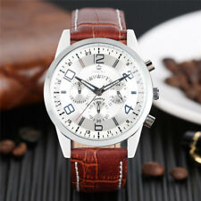 ORKINA Brown Genuine Leather Band Strap Men Women Business Quartz Wrist Watch