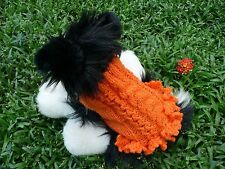 XXXS  Handmade Orange Dog Sweater Dress