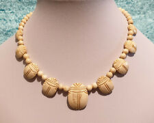 Vintage Art Deco Egyptian Revival Carved Bone Scarab Beetle Beaded Necklace