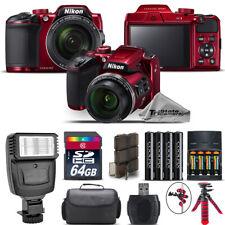 Nikon COOLPIX B500 RED Camera 40x Optical Zoom + Flash + Case - 64GB Kit Bundle