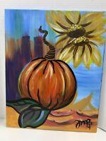 "Fall Pumpkin Acrylic Painting Original Art Canvas Sunflowers Signed 17""x20"""