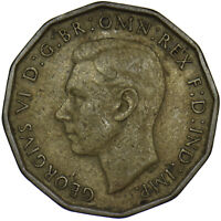 1946 BRASS THREEPENCE - GEORGE VI BRITISH COIN - RARE