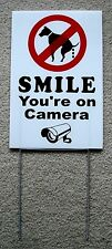 "No Dog Poop - Smile You'Re On Camera 8""X12"" Plastic Coroplast Sign with Stake"