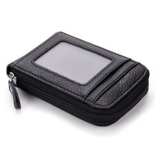 Men's Wallet Genuine Leather Card Holder RFID Blocking Zipper Thin Purse Pocket