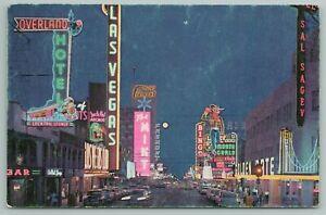 Las Vegas Nevada~Fremont Street At Night~Vintage Postcard