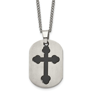 Titanium Brushed Black IP-plated Moveable Cross 22in Necklace TBN114