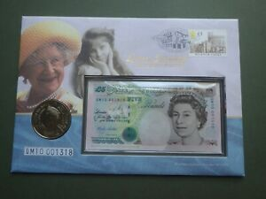 100 Years Queen Mother  £5 Commemorative Coin and Note in FDC