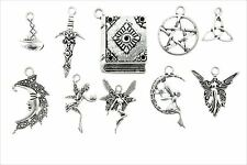 AVBeads Pagan Wicca Charms Mixed Set Silver Metal Charms 10pcs Athame Fairy Book
