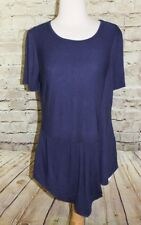 eci Blue Short Sleeve Stretch Top Scoop Neck Size Large