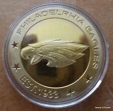 NFL Philadelphia Eagles Football   24K GOLD  PLATED  40 mm  COIN  #2s
