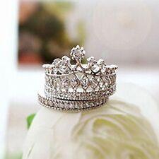 "2 piezas de este conjunto Princesa Corona ""Plata"" Anillo de pila de banda cristales de la CZ Talla 7 (o)"