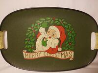 Pipe smoking Santa serving tray Merry Christmas retro holiday platter Vtg