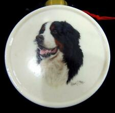 SAINT BERNARD Dog Christmas Ornament Fine Porcelain Signed Robert May