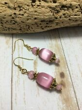 Handmade Pink Cat's Eye Stone Gold Earrings USA