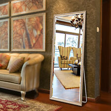 "Full Length Floor Mirror Dressing Mirror Solid Wood Frame 65""x22"" Champaign Gold"