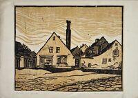 Charlotte Zurek 1910-1971 Linolschnitt Häuser am Stadtrand signiert datiert
