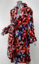 Comme des Garcons 2013 Rouge Bleu Noeud Noir Ruban Imprimé à Fourrure Manteau