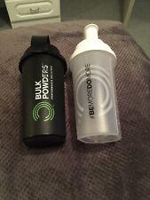 Bulk Powders Protein Shaker Bottles X2 One Black , One White/Clear