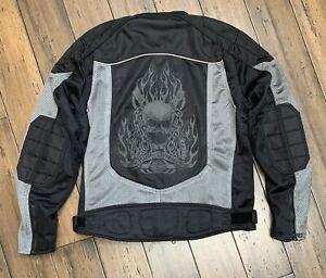 Rare Harley Davidson Mesh Reflective Piping Skull Riding Jacket  Size Large