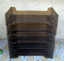 5 Vintage Rubbermaid Office Paper Stacking Letter Tray Holders Plastic Bin Brown
