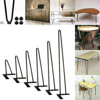 """Coffee Table Black Hairpin Legs 8"""" -30"""" Set of 4 3/8"""" Solid Iron Bar"""