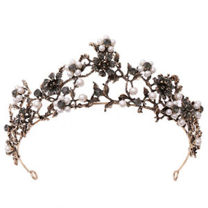 6.2cm High Flower Pearl Crystal Tiara Crown Wedding Bridal Party Pageant Prom