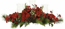 NEW IN BOX! Nearly Natural Hydrangea Holiday Candelabrum Red Berries Pine Cones