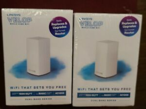 Linksys Velop LOT 2 Dual Band AC1200 Mesh WiFi System Home 1 Pack Expandable NEW