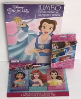 3pc Gift Set! Disney Princess Coloring Activity Book Crayons Jumbo Playing Cards