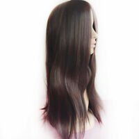 70CM Long Dark Brown Straight Heat Resistant Women Lady Hair Full Wig Kit