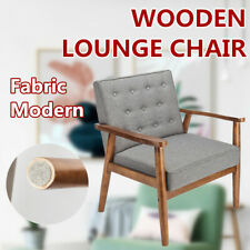 Wooden Lounge Chair Furniture Retro Modern Upholstered Solid Wood Fabric Grey