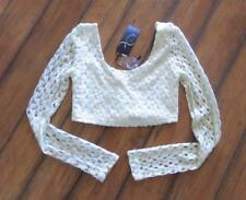 DOUBLE ZERO ~ New! NWT Small ~ Super Sexy! Cropped Crochet BOHO Lace 1/2 Top