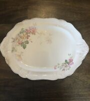 "Vintage Taylor Smith Taylor Company Wild Briar Rose Platter 13"" X 9"""