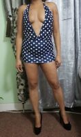 Revealing Mini Dress Ladies Women's Girls Short Blue Polka Dot Party Wear 506